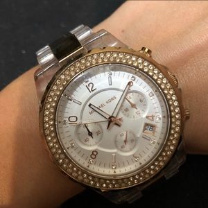 Michael Kors Rose gold and clear bracelet watch